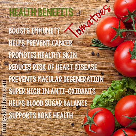 Health benefits of tomatoes from Trinity Kitchens at Tomato Dirt
