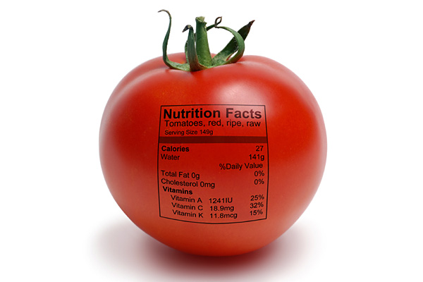 Tomato nutrition label from Precision Nutrition via Tomato Dirt