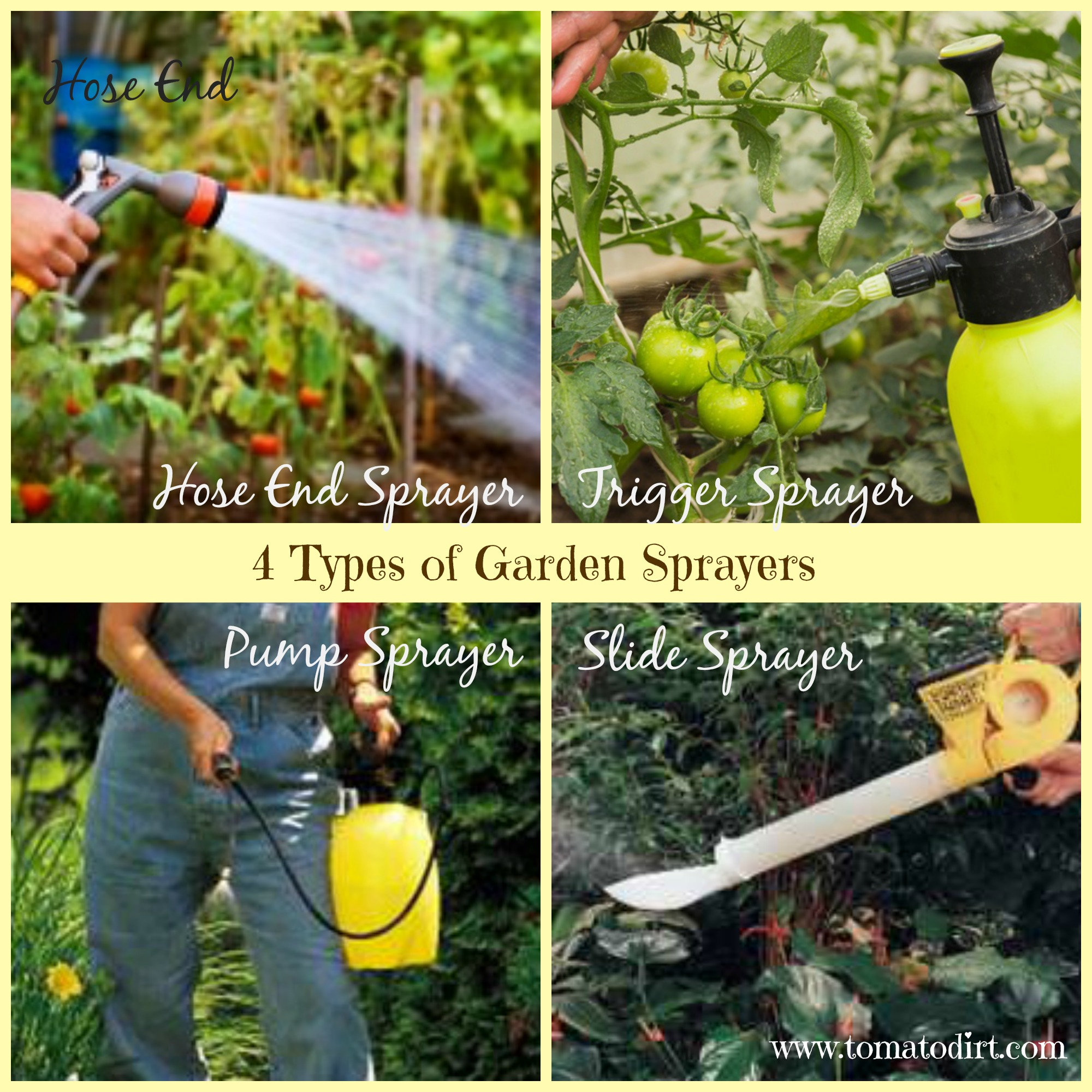 4 types of garden sprayers with Tomato Dirt