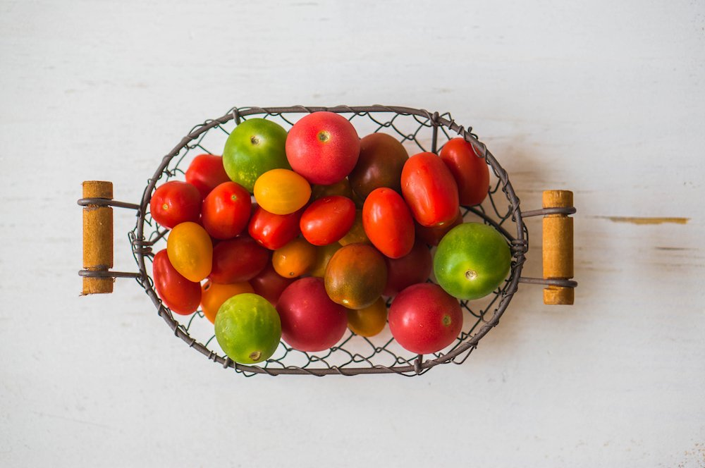 Tomatoes in basket with Tomato Dirt